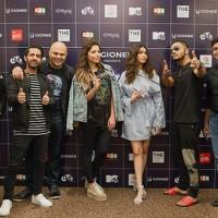 Gionee MTV Bollyland stars DJ Nyk - Kiran Kamath - Kanika Kapoor- Anusha Mani and Raftaar with GioneeSingingStar Winner and Rajesh Radhakrishnan - General Manager- The Park Chennai