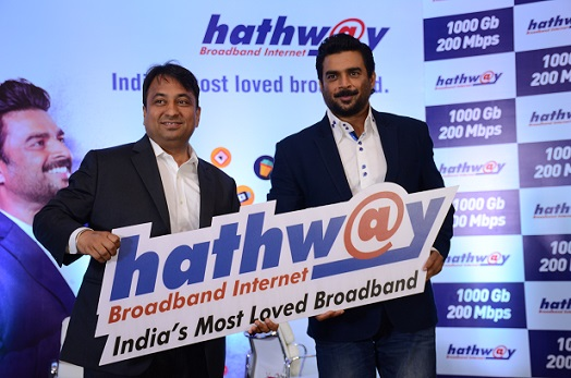 Actor R Madhavan roped in as the brand ambassador for hathway broadband (L-R) Mr. Rajan Gupta - M.D Hathway, R Madhavan.