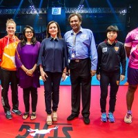 Mrs. Nita Mukesh Ambani (C) along with Mrs Vita Dani (3L), Chairperson, 11even Sports and CEAT UTT Promoter and Mr Niraj Baja (3R), Co-Promoter of 11even Sports and Promoter Director of Bajaj Group of Companies poses for a photograph with the players during the Semifinal 1 of the CEAT Ultimate Table Tennis league played between Falcons TTC and DHFL Maharashtra United  held at NSCI, Mumbai, India on July 28, 2017.  Photo : Pal Pillai/ Focus Sports / Ultimate Table Tennis