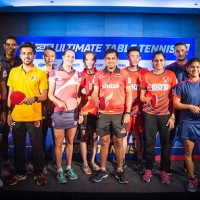 (L to R) Aruna Quadri of Oilmax-Stag Yoddhas, Sharath Kamal Achanta of RP-SG Mavericks, Sanil Shetty of Falcons TTC, Wu Yang of Falcons TTC, Sabine Winter of RP-SG Mavericks, Han Ying of Shaze Challengers, Soumyajit Ghosh of Shaze Challengers, Wong Chun Ting DHFL Maharashtra United, Pooja Sahasrabudhe Koparkar of DHFL Maharashtra United, Marcos Freitas of Dabang Smashers T.T.C., Madhurika Patkar of Dabang Smashers T.T.C., Manika Batra of Oilmax-Stag Yoddhas pose for a photograph during the press conference of the Ultimate Table Tennis League, held in Chennai, India on July 09, 2017.   Photo : Pal Pillai/ Focus Sports/ Ultimate Table Tennis