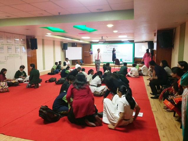 Students taking part in the workshop at Fortis Hospitals, Bannerghatta road
