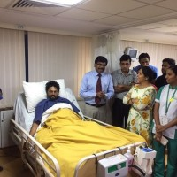 Dr Nithin Kumar N, Consultant Neurologist at Fortis Hospitals, Cunningham road,and his team with the patient