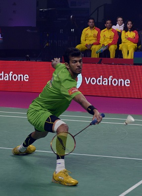 Ajay beat Chong Wei Feng playing the Trump match for Bengaluru Blasters during the on going Vodafone PBL match in Chennai on friday
