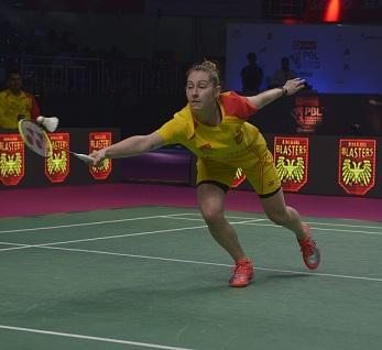 Kirsty Gilmour ensuring the Bengaluru Blasters are back in the match against NE Warriors in Chennai on Friday