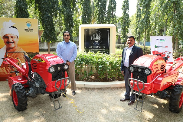 Mr. Nagesh Basavanhalli,MD & CEO, Greaves Cotton Limited and Mr. M. Mohanan,President-Farm Equipment Business, Greaves Cotton Limited at the launch of 1st Made-in-India Power tiller- 'The Bahubali'