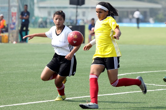 Reliance Foundation Youth Sports Football Tournenament , National Final of Senior Girls  played between Umthli Sceondary School, Shillong (White) Vs P.S. Senior Secondary school, Chennai(Yellow) at the Reliance Corporate Park,Ghansoli, Mumbai Maharashtra, on 6th January 2018.