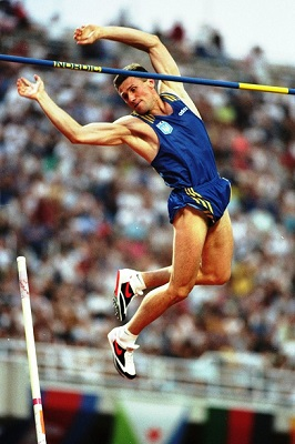 10 Aug 1997: Sergey Bubka of the Ukraine clears the bar during the Pole Vault event at the World Championships at the Olympic Stadium in Athens, Greece. Bubka won the gold medal making it his sixth World Championship victory. Mandatory Credit: Gary M Prior/Allsport