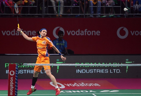 The Sillent assasin, Tai Tzu Ying in action during the Ahmedabad Samsh Masters match against Chennai Smashers during the on going Vodafone PBL match