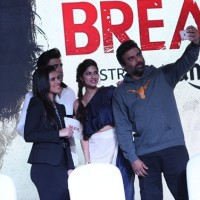 The lead cast of Amazon Original Breathe share a light moment on stage at the Tamil Trailer launch of Breathe