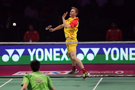 Viktor Axelsen in action in Chennai during Bengaluru's match against North Eastern Warriors