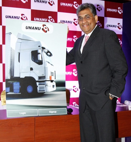 Mr. Srini Sundar, Founder and CEO,UNANU Logistics, at the Launch of Unanu - a mobile application to provide technological solution for Transportation and Logistics sector .