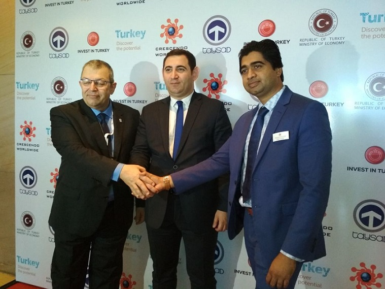 L-R-Mr.Suheyl Baybali, Executive Officer, Taysad, Mr.Sehran Ortac, Turkey Ministry & Vishal Jadhav, President, Crescendo Worldwide Turkey