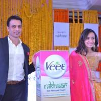 Pankaj Duhan Chief Marketing Officer RB South Asia Health with Shraddha Kapoor at Veet Nikhaar Launch