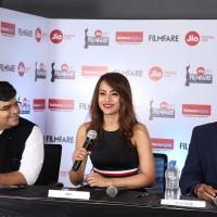 (L-R) Editor of Filmfare, Mr. Jitesh Pillai, Actress Trisha Krishnan, Sr. Vice President of Reliance Jio Infocomm Ltd- Sudhir TC at the 65th Jio Filmfare Awards South 2018