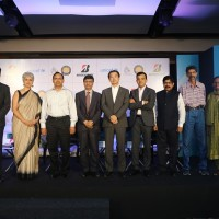 Dr.Yasmin Ali Haque, Rep., UNICEF, Mr.Sham Lal Goyal, Add. Chief Sec., WSSD, Mr.Yoshikazu Shida,COO, Bridgestone APAC, Mr.Parag Satpute, MD, Bridgestone India at Bridgestone- UNICEF Drops of Hope Event