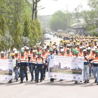 Health & Safety march held by Ambuja Cement employees in its plant at Bhatapara in Chhattisgarh