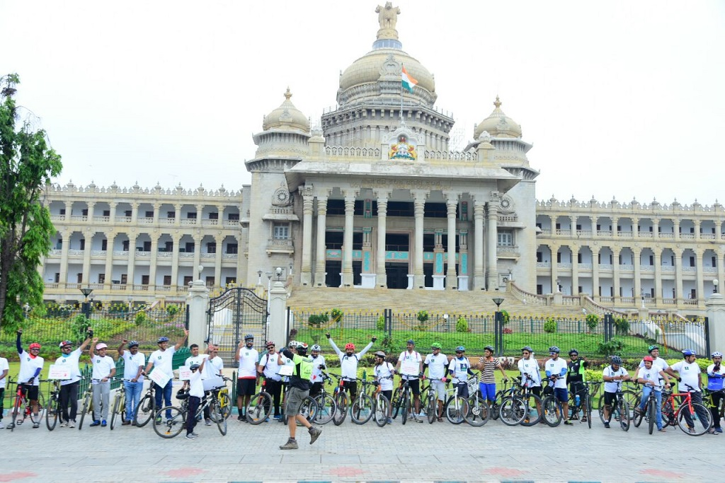 Participants on their way during the cyclothon