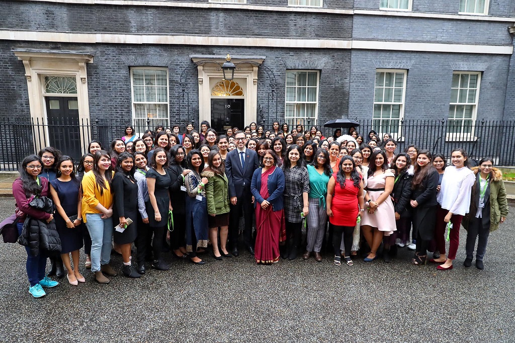 Alan Gemmell, British Council India Director with the winners of 70th Anniversary Scholarships in London