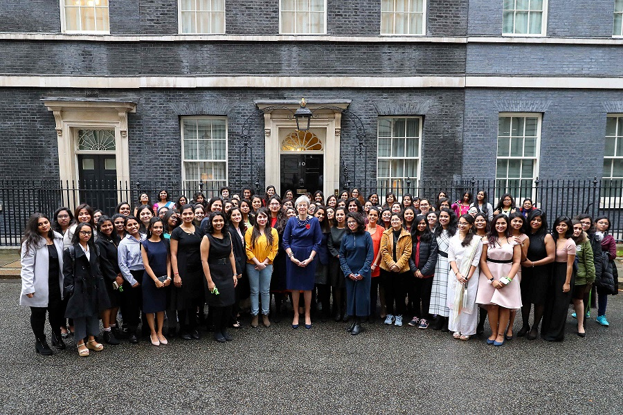 Prime Minister Theresa May welcomed Science Technology Engineering and Maths students to Downing Street and had a group photograph on the street.