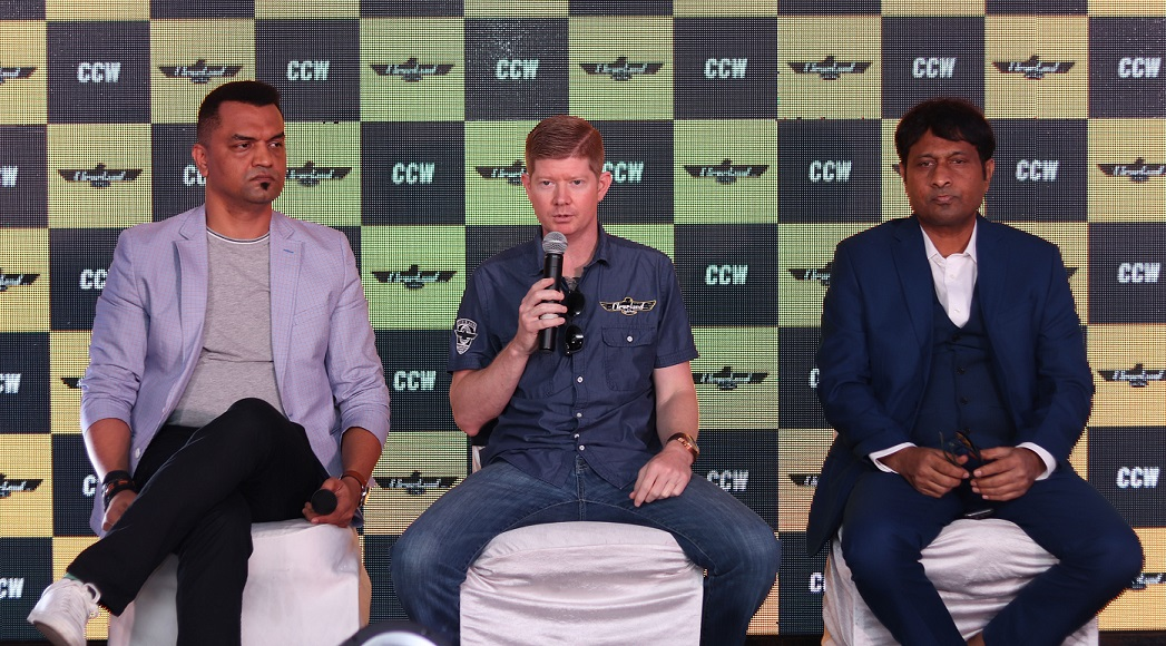 From left to right Mr. Pranav T. Desai Director and CEO, CCW India_ Mr. Scott Colosimo, Founder, Cleveland CycleWerks_ Mr. Sangram Vilasrao Patil, Chairman & Managing Director, CCW India