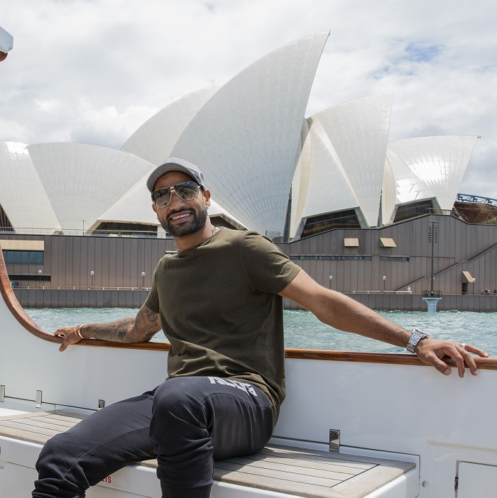 Shikhar Dhawan next to Australia's Sydney Opera House