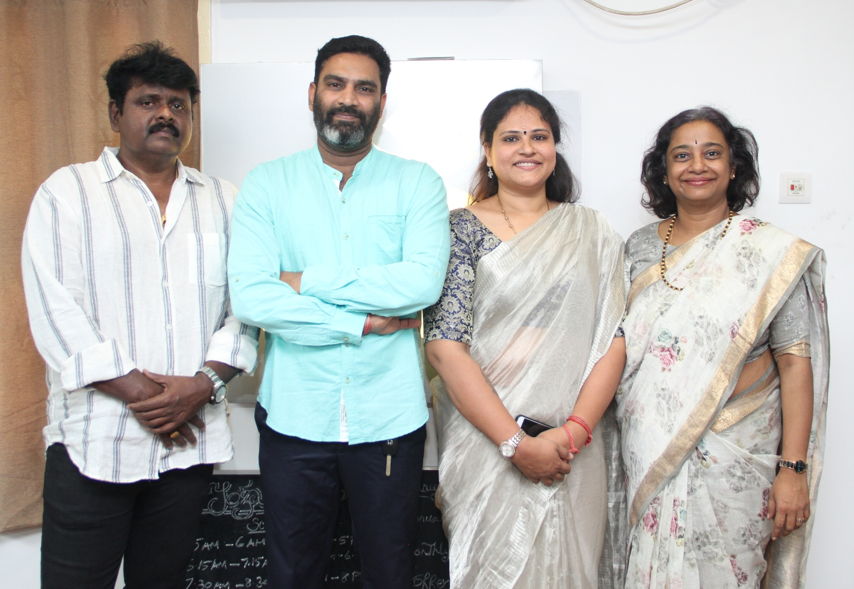From L-R, Actor GM Sundar, Mr. Ramanan,Founder-Yoga2Go & His Wife, Ms. JaiShree,Ms.Shaarada Sriram, MD, Ideal Play Abacus