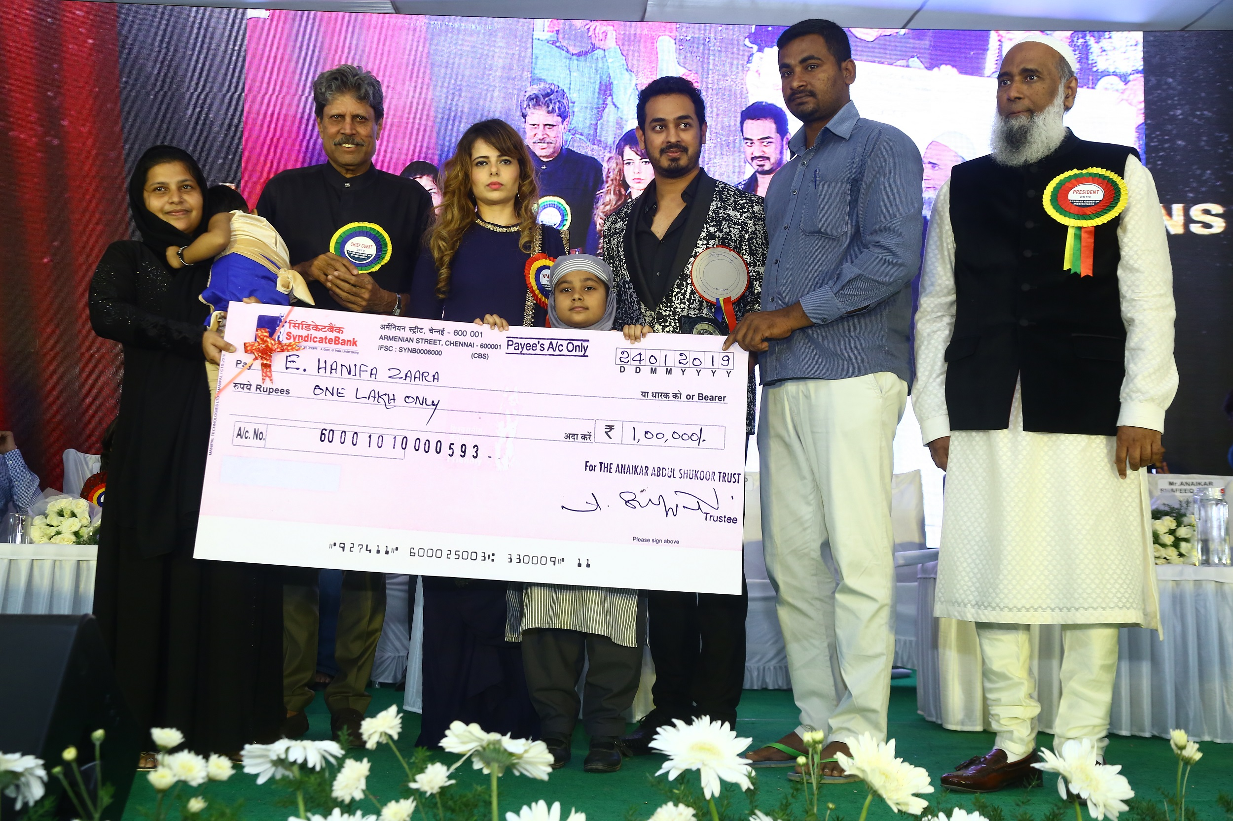 Miss Hanifa Zara and Parents with Kapil Dev, Alisha Abdhulla, Mohammed Anaikar and Mr Anaikar shafeeq Ahmed