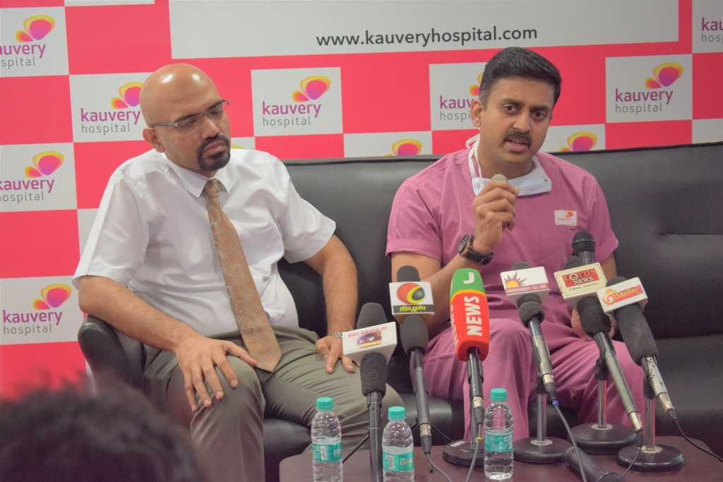 Photo Caption (Left to right) Dr. Iyappan Ponuswamy, Chief Radiologist at Kauvery Hospital and Dr. A.B. Gopalamurugan, Chief Cardiologist at Kauvery Hospital.