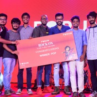 Winners of Pop genre​ 120 DB receiving 1 lakh worth prize from the judges