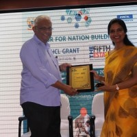 Ms. Nidhi Pundhir, Director -HCL Foundation at HCL Grant Symposium 2019 at Chennai Honouring Rev.Fr.A.M.Jaypathy Francis,Rector of Loyola college and director of LISSTAR