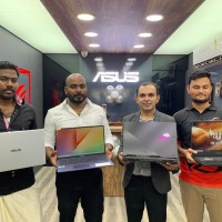 L-R - Partners - Ranjit T.S, Vincent T.S and Piyush Sheth, National Distribution Head, ASUS India, Mohammed Hussein, Regional Manager South, ASUS India