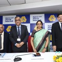 From left to right Mr. P A Krishnan, GM & CFO, Mr. M K Bhattacharya, ED, Ms. Padmaja Chunduru MD CEO & Mr. V V Shenoy, ED Indian Bank